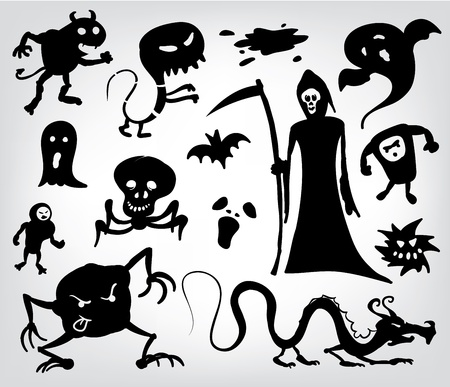 Monsters, Ghosts And The Grim Reaper, a collection of silhouettes for halloween, fantasy and horror. Vector