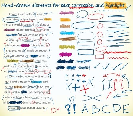 highlights: Colecci�n de dibujado a mano la correcci�n de textos, y elementos de relieve