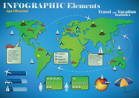 Infographic Travel Elements on a green world map for air, road and sea transport and travel destinations. Vector