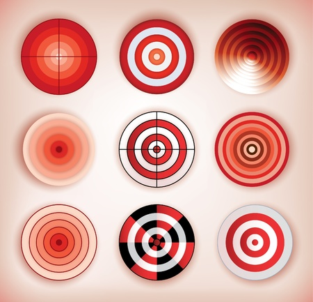 collection of nine dartboards Illustration