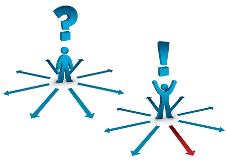 questioning: business concept with questioning and answering symbols Illustration