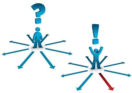 questioning: Business-Konzept mit Fragen und Antworten Symbolen