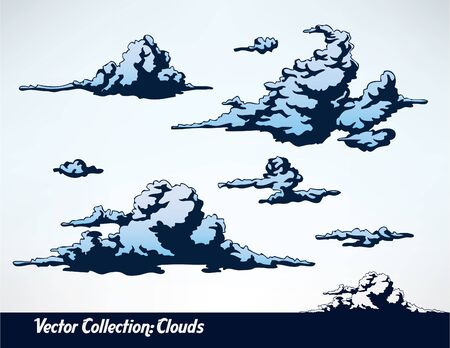 shadowed: set of comic style clouds Illustration