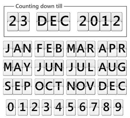 chronology: flip display with months and numbers for date Illustration