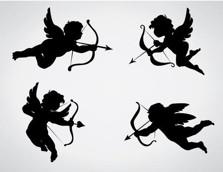 silueta de angel: colecci�n de 4 siluetas de Cupido