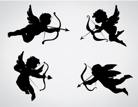collection of 4 cupid silhouettes Vector