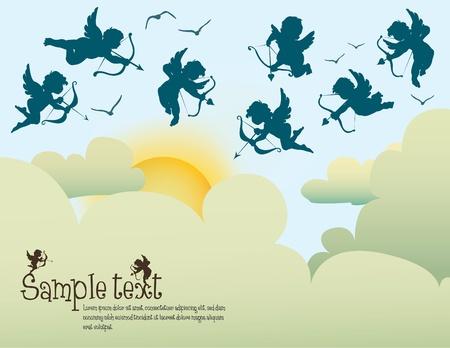 collectie van cupido's boven de wolken Vector Illustratie