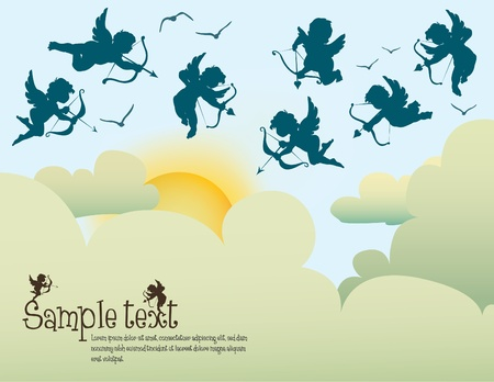 collection of cupids above clouds Vector