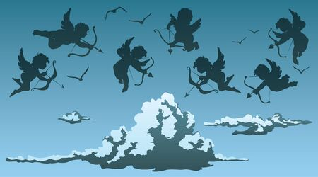 cupids above clouds Vector