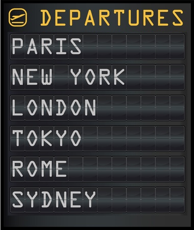 departure board: airport departure board Illustration