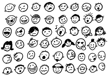happy emoticon: set of cute doodled faces Illustration