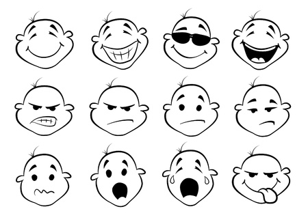 gestos de la cara: colección de rostros lindos de la historieta Vectores