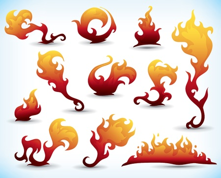 flames icon: set of fiery tattoo elements