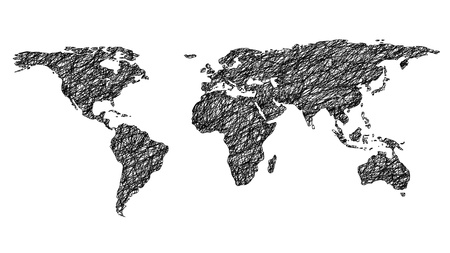 scribbled world map isolated on white background