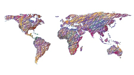 pencil drawn: scribbled world map isolated on white background