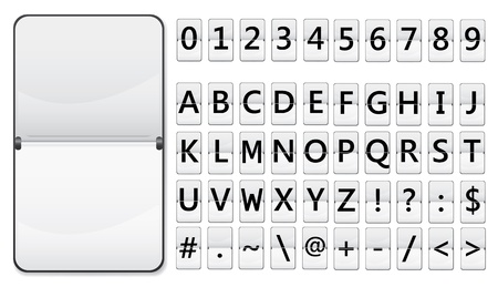 indicator panel: Flip display with characters for text