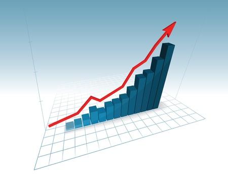 3d growing chart Stock Vector - 11562851
