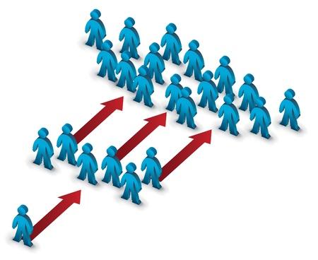 piramide humana: equipo en crecimiento s�mbolo ilustraci�n Vectores