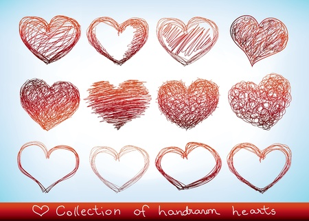 dessin coeur: ensemble de doodled valentine Hearst