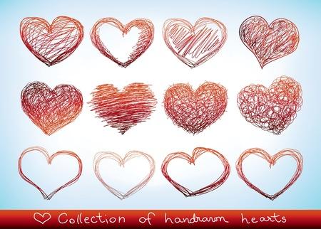 heart outline: set of doodled valentine hearst Illustration