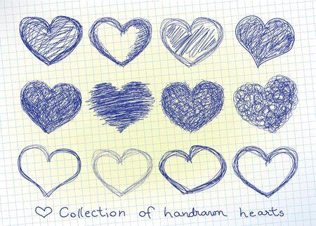 doodled: set of doodled valentine hearst Illustration