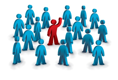 one person different in the crowd Vector