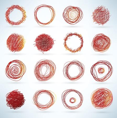 doodled elementos esféricos para los diseños Ilustración de vector
