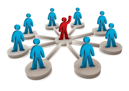 1 and group: people connected to one leading person Illustration