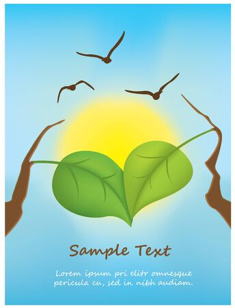 illustration of leafs in heart shape Stock Vector - 11562880