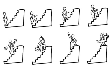 rankings: doodled businessman going up the stairs of his carreer