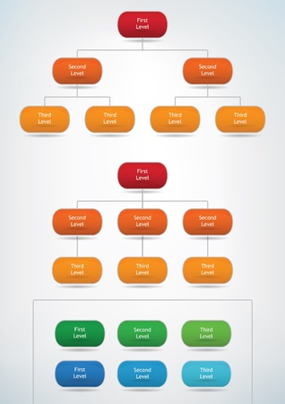hierarchy chart: diagram template of different marketing presentations Illustration