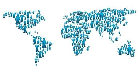 create: mappa del mondo creato dalle forme delle persone Vettoriali