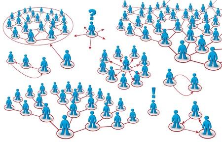 conjunto de tipos de redes diferentes de los equipos Ilustración de vector