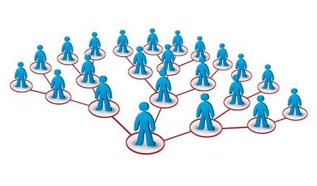 3d ilustración de una red en árbol