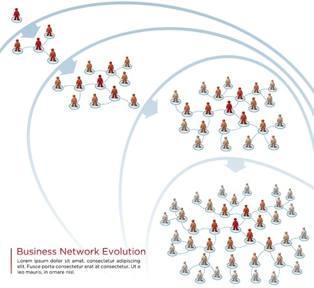 network marketing: crecimiento de la red los pasos del ejemplo Vectores