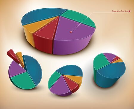 3d colored charts Vector
