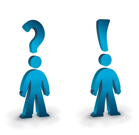 exclamation sign: people with question and exclamation heads Illustration