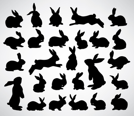 bunnies: collection of rabbit silhouettes Illustration