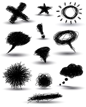 handdrawn speech bubbles and other elements Vector