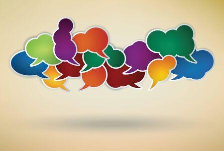 conversation icon: colorful speech bubbles composition Illustration