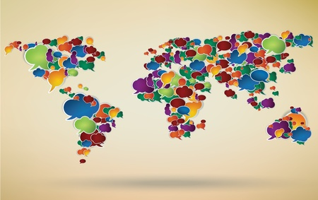 social network: social network symbol with a world map created from speechbubbles Illustration