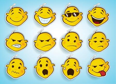 caras de emociones: lindos rostros dibujados a mano cómico