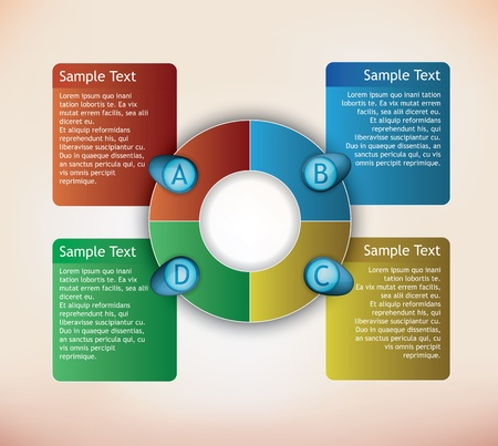 presentation diagram with textboxes and numbers Vector