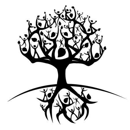bomen zwart wit: illustratie van de boom des levens