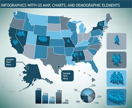 infographic met ons kaart en demografische elementen
