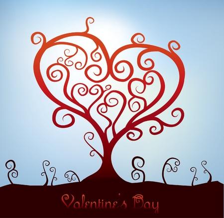 abstract heart shaped valentine tree Vector