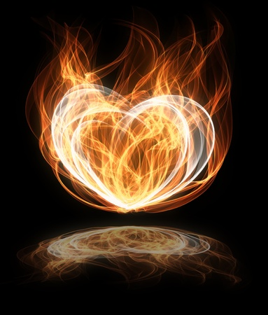 heart in flame: Illustration of a flaming heart