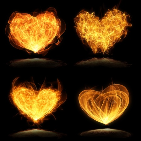 burning love: collection of glowing valentine hearts