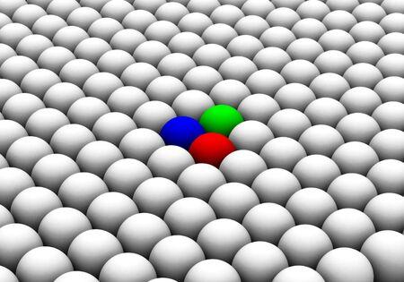 illustration of colored spheres among whites Stock Illustration - 11583795