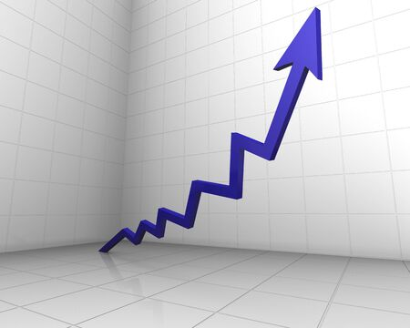 attainment: illustration of a rising arrow in 3d